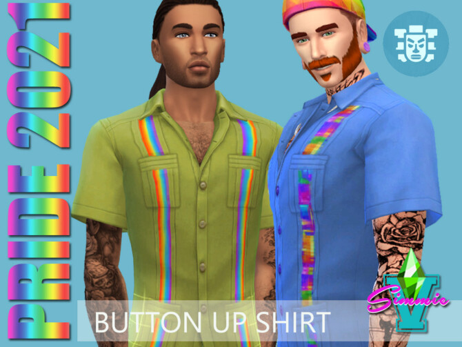 Sims 4 Pride21 Button Up Shirt by SimmieV at TSR