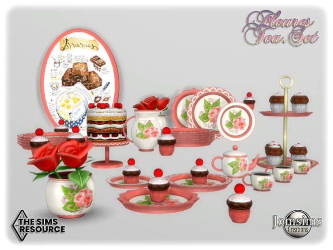 Sims 4 Fleures tea set by jomsims at TSR