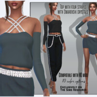 Top With Four Stripes With Swarovski Crystals By Sims House