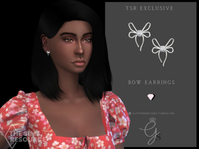 Sims 4 Bow Earrings by Glitterberryfly at TSR