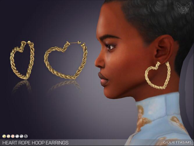Heart Rope Hoop Earrings By Feyona