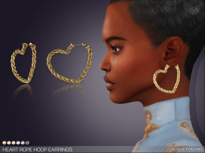Sims 4 Heart Rope Hoop Earrings by feyona at TSR