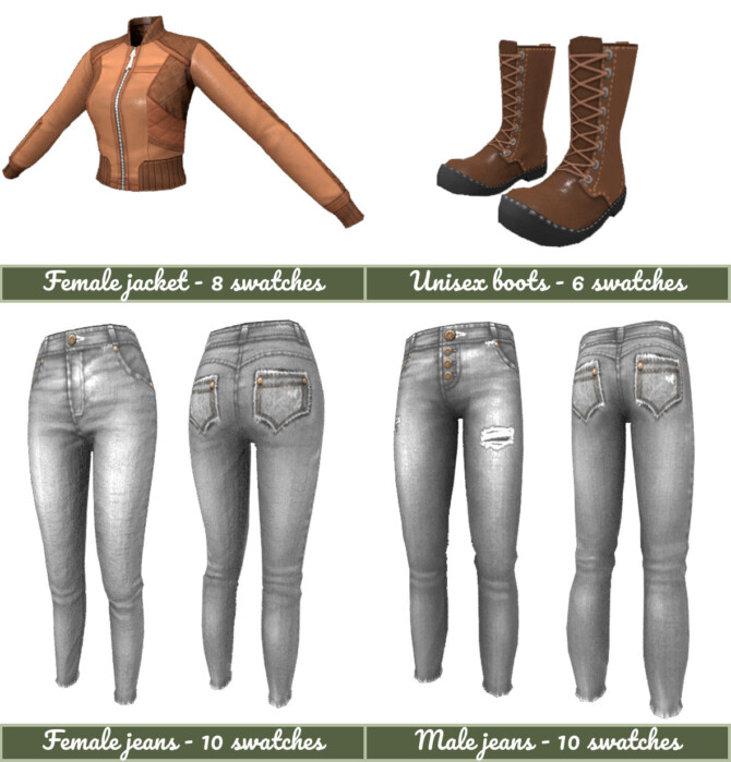 Sims 4 Leather and Jeans mini clothing collection at Frenchie Sim