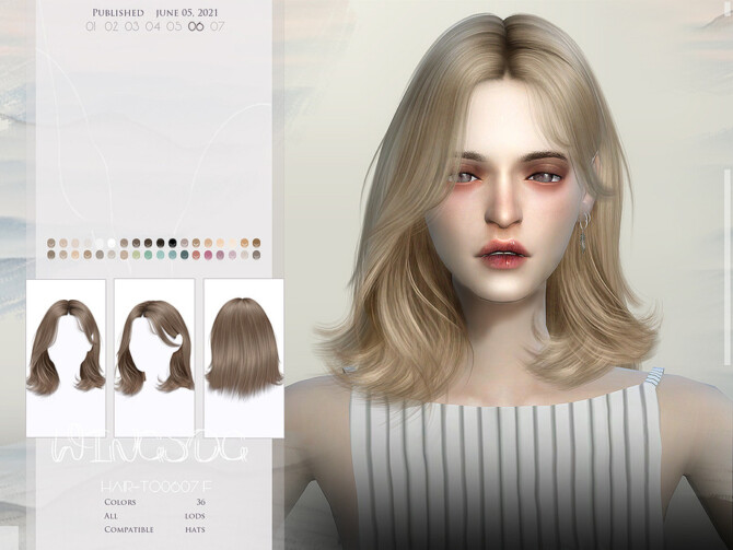 Sims 4 WINGS TO0607 hair by wingssims at TSR
