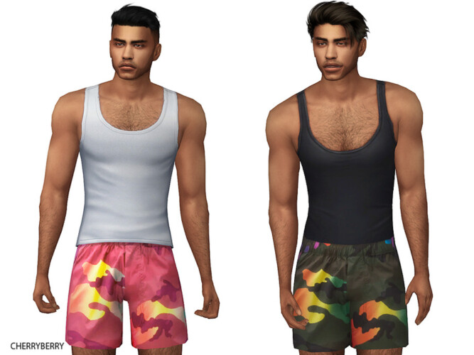 Rainbow Camouflage Shorts By Cherryberrysim