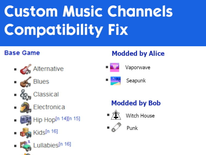 Custom Music Channels Compatibility Fix By Staberinde