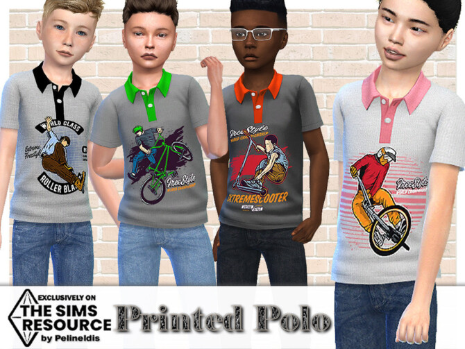 Sims 4 Printed Polo by Pelineldis at TSR