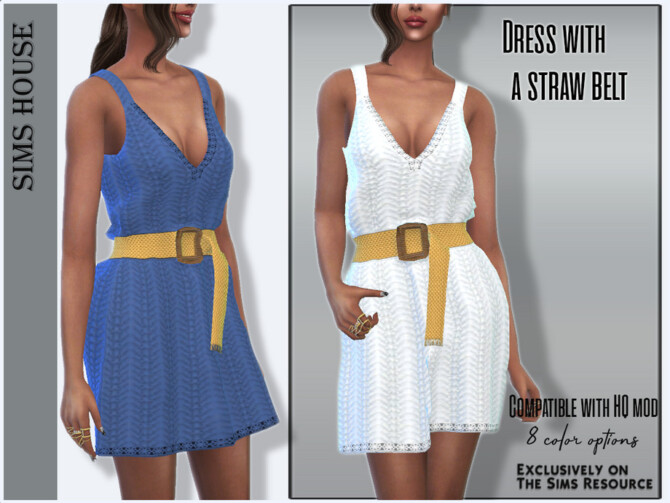 Sims 4 Dress with a straw belt by Sims House at TSR