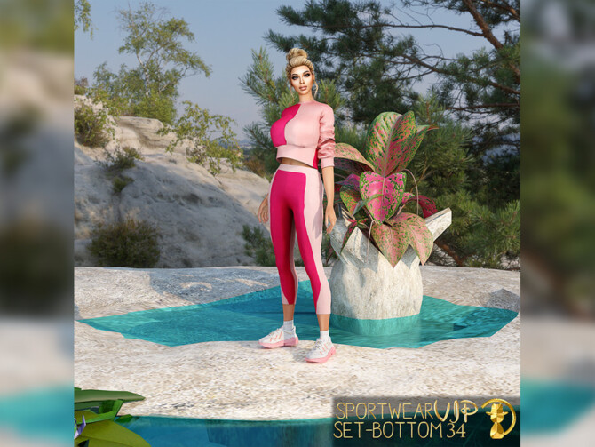 Sims 4 Sportwear Set Bottom VIP34 by turksimmer at TSR
