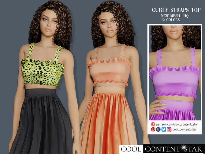 Sims 4 Curly Straps Top by sims2fanbg at TSR