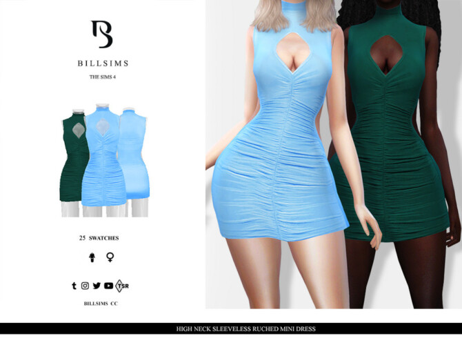 Sims 4 High Neck Sleeveless Ruched Mini Dress by Bill Sims at TSR