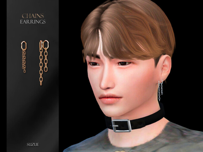 Sims 4 Chains Earrings by Suzue at TSR