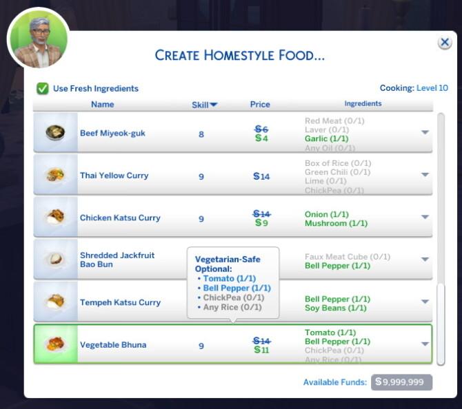 Sims 4 Vegetable Bhuna Custom Recipe at Mod The Sims 4