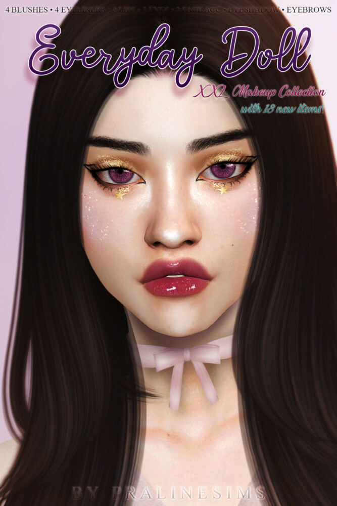 Sims 4 EVERYDAY DOLL Makeup Collection at Praline Sims