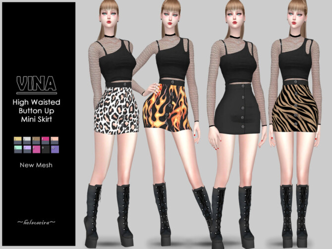 Sims 4 VINA Button up Skirt by Helsoseira at TSR