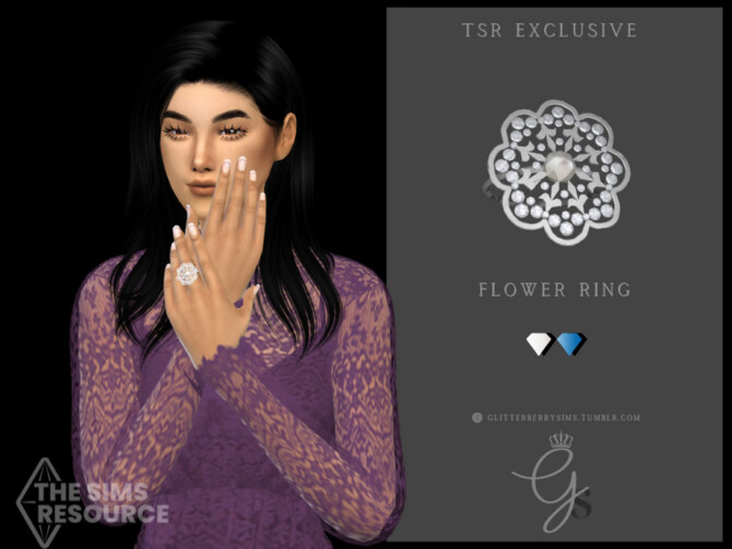 Sims 4 Flower Ring by Glitterberryfly at TSR