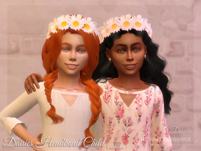 Sims 4 Daisies Headband Child by Dissia at TSR