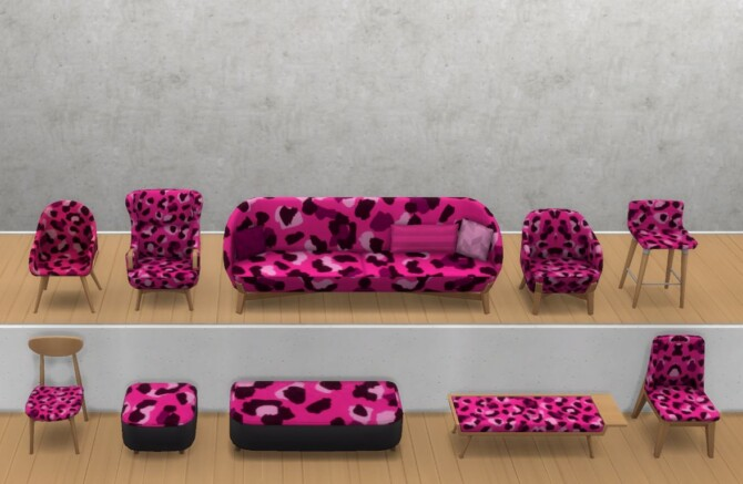 Sims 4 The Leopard Seating Set by ApplepiSimmer at Mod The Sims 4