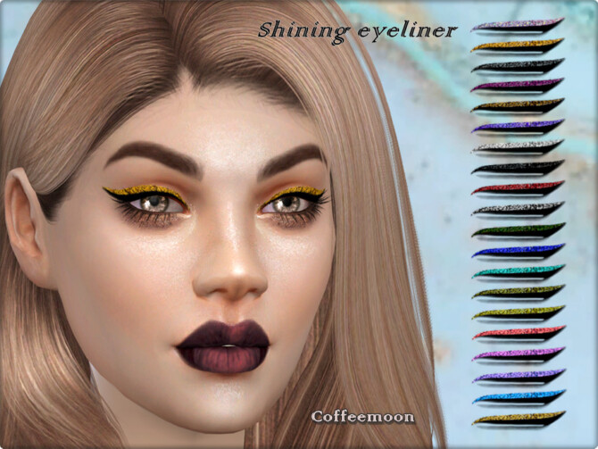 Sims 4 Shining glitter eyeliner by coffeemoon at TSR