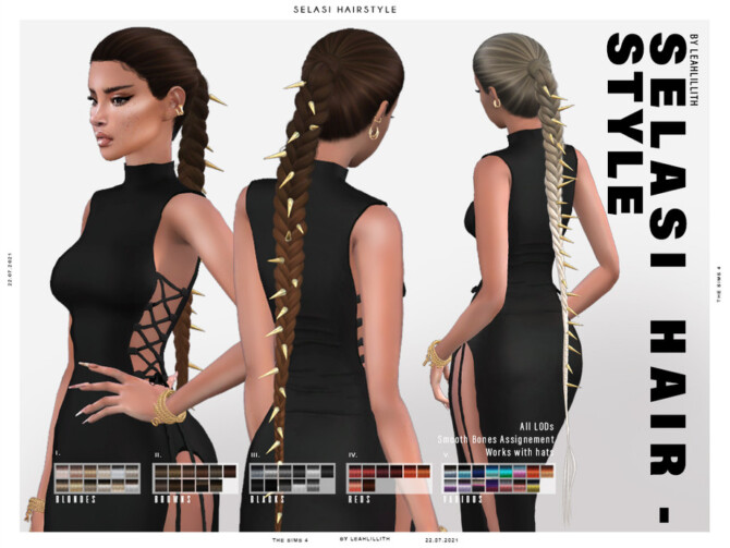 Sims 4 Selasi Hairstyle by Leah Lillith at TSR
