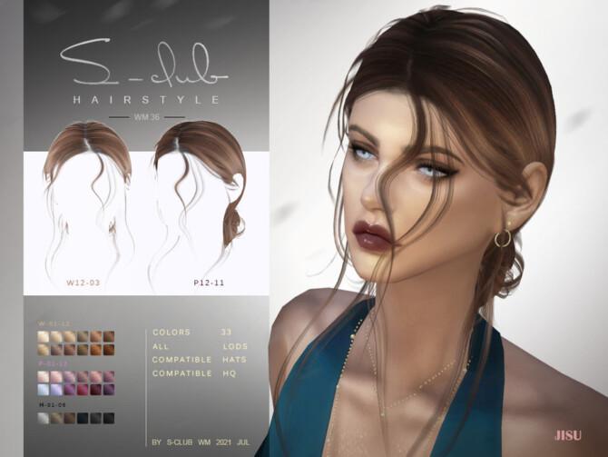 Sims 4 Natural windy hairstyles with bun JISU by S Club at TSR