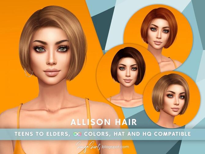 Sims 4 Allison Hair by SonyaSimsCC at TSR