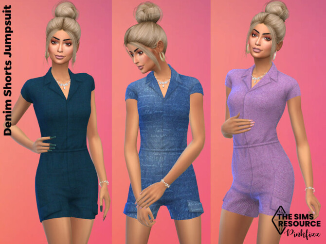 Sims 4 Denim Shorts Jumpsuit by Pinkfizzzzz at TSR