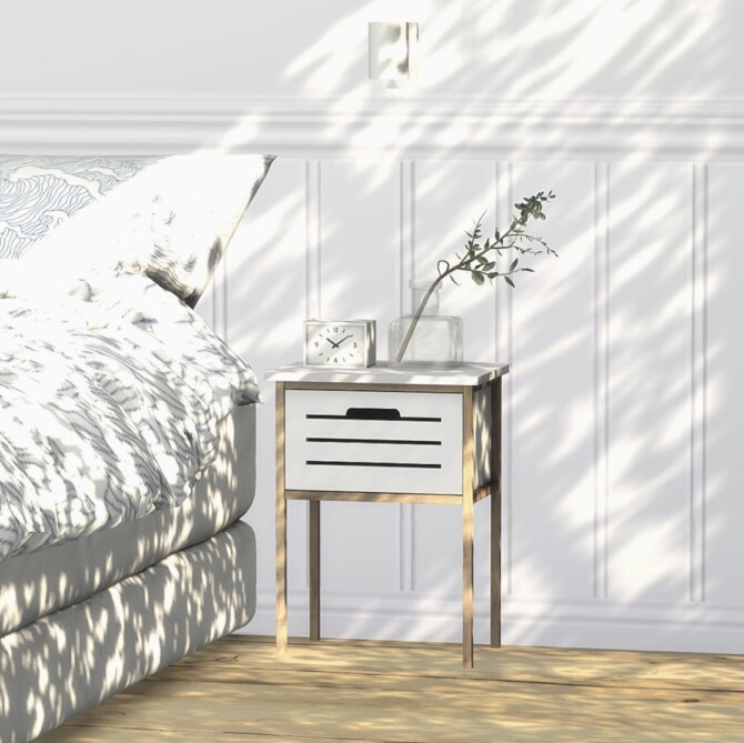 Sims 4 Broby 3 Drawer Chest, Bedside Table & Laundry Basket at Heurrs
