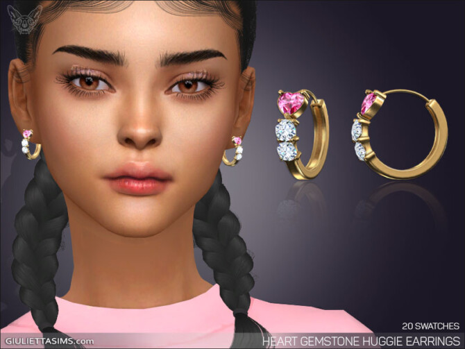 Sims 4 Heart Gemstone Huggie Earrings at Giulietta