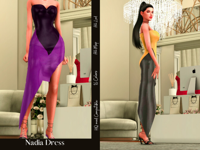 Sims 4 Nadia Dress by couquett at TSR