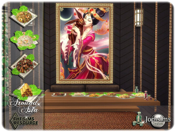 Sims 4 Around Asia Dining room by jomsims at TSR