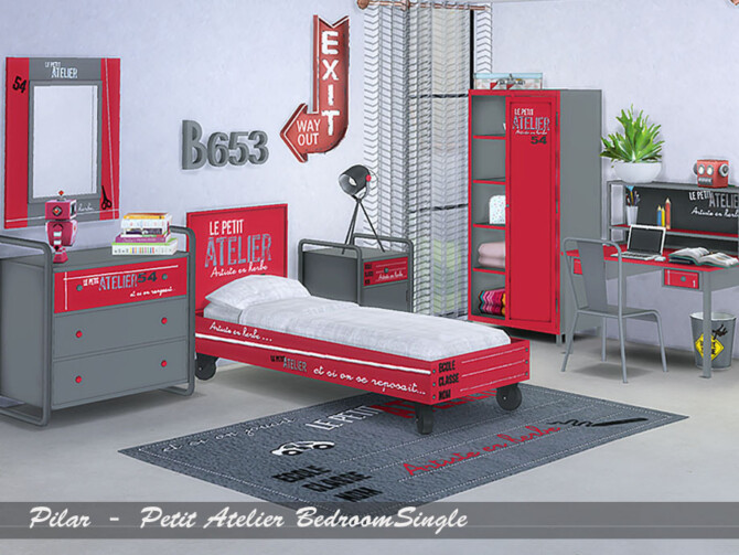 Sims 4 Petit Atelier Bedroom Single by Pilar at TSR