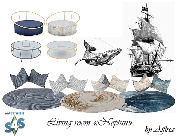 Sims 4 Neptun living room at Aifirsa
