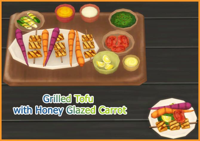 Sims 4 GRILLED TOFU WITH HONEY GLAZED CARROTS at Icemunmun