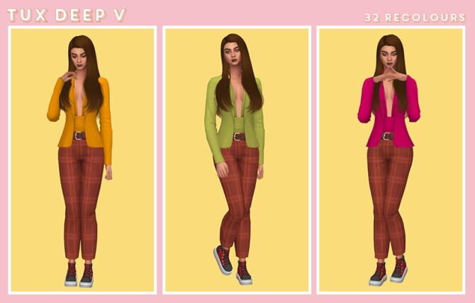 Sims 4 Tux Deep V Blazer Recolors at Midnightskysims