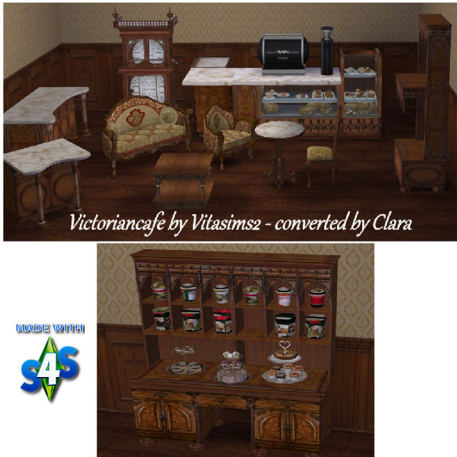 Sims 4 Victorian Cafe Vitasims2 Conversion by Clara at All 4 Sims
