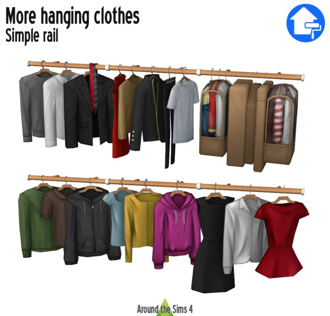 Sims 4 Dressing add ons: hanging clothes & rail at Around the Sims 4