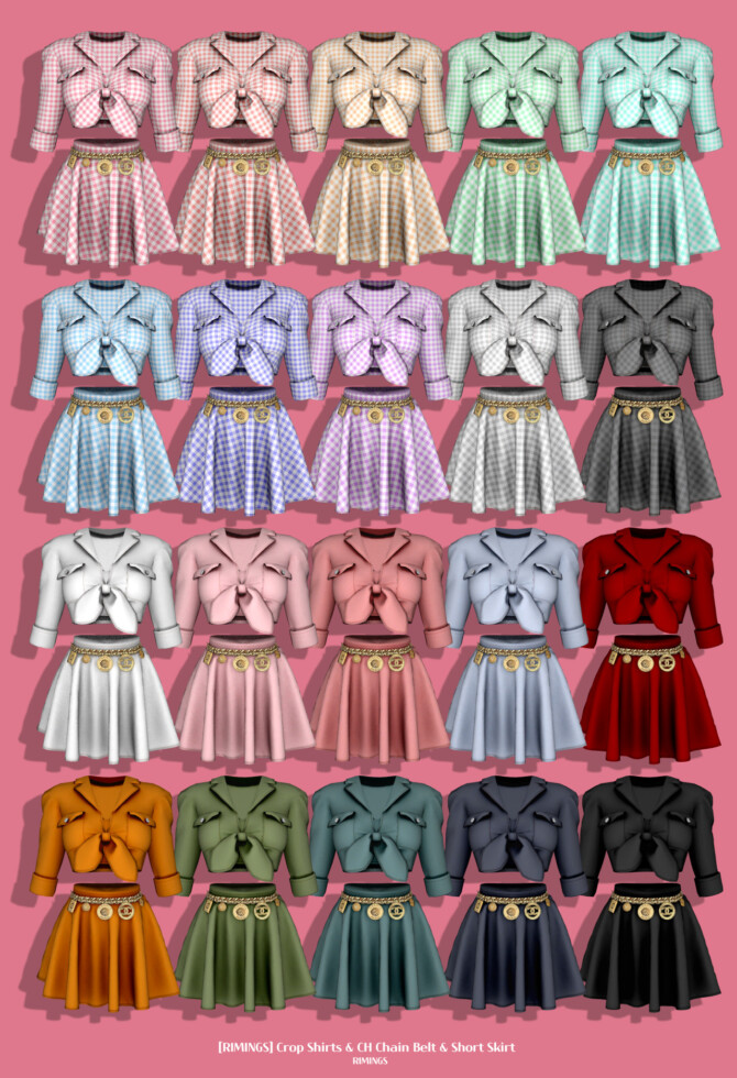 Sims 4 Crop Shirts & Chain Belt & Short Skirt at RIMINGs