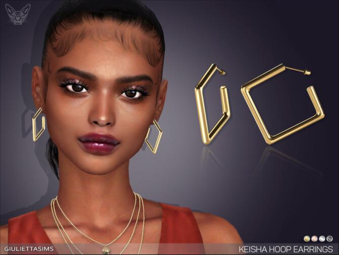 Sims 4 Keisha Square Hoop Earrings by feyona at TSR