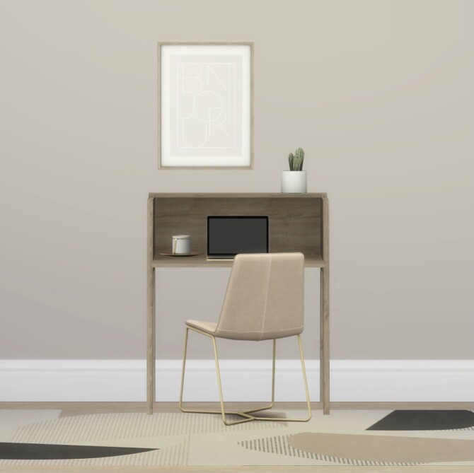 Sims 4 Desk, Bonjour Wall Art & Linie & Layered Rug at Heurrs