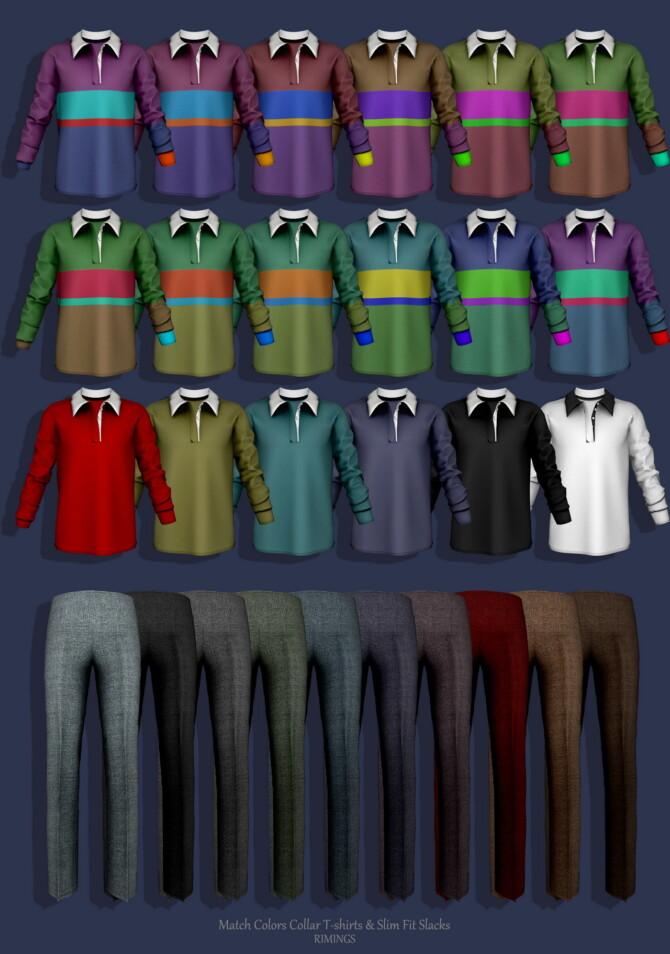 Sims 4 Match Colors Collar T shirts & Slim Fit Slacks at RIMINGs