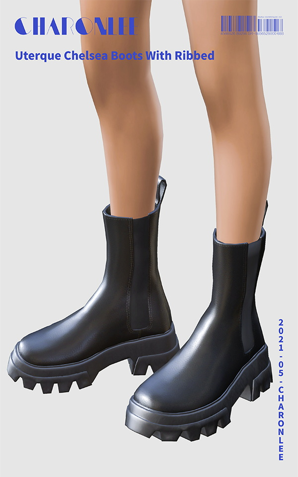 Sims 4 Uterque Ribbed Chelsea Boots at Charonlee