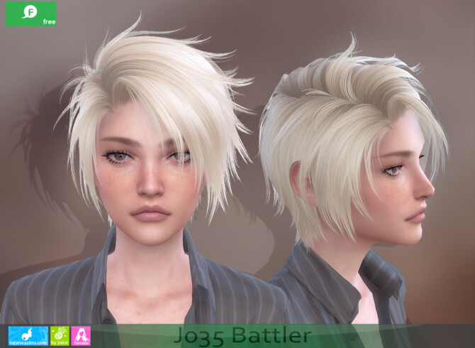 Sims 4 J035 Battler hair for females at Newsea Sims 4