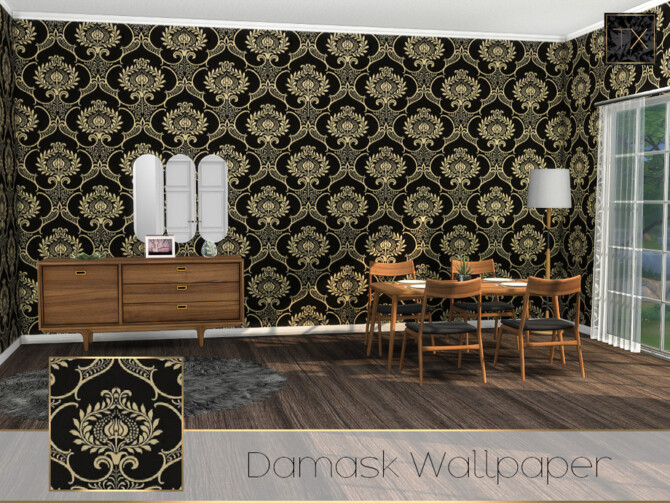 Sims 4 Damask Wallpaper TX by theeaax at TSR