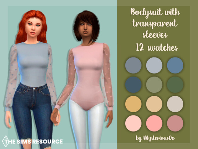 Sims 4 Bodysuit with transparent sleeves by MysteriousOo at TSR