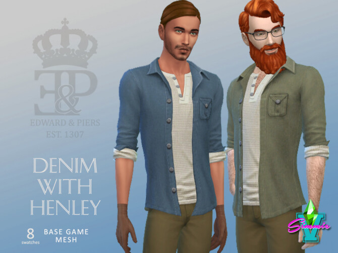 Sims 4 Edward & Piers Denim with Henley by SimmieV at TSR