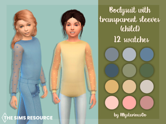 Sims 4 Bodysuit with transparent sleeves Child by MysteriousOo at TSR