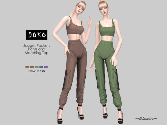 Sims 4 DOKO Jogger Pants and Top by Helsoseira at TSR