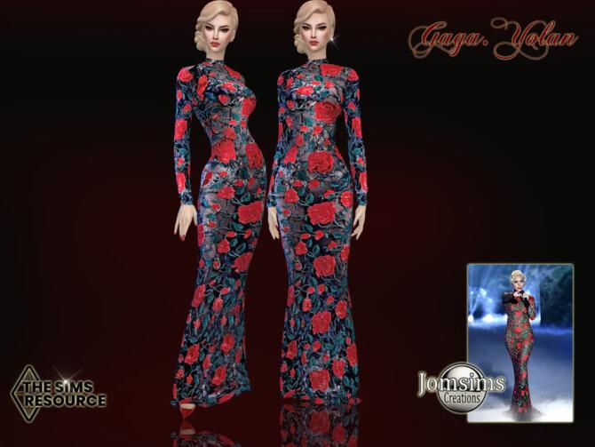Sims 4 Gaga Yolan dress by jomsims at TSR
