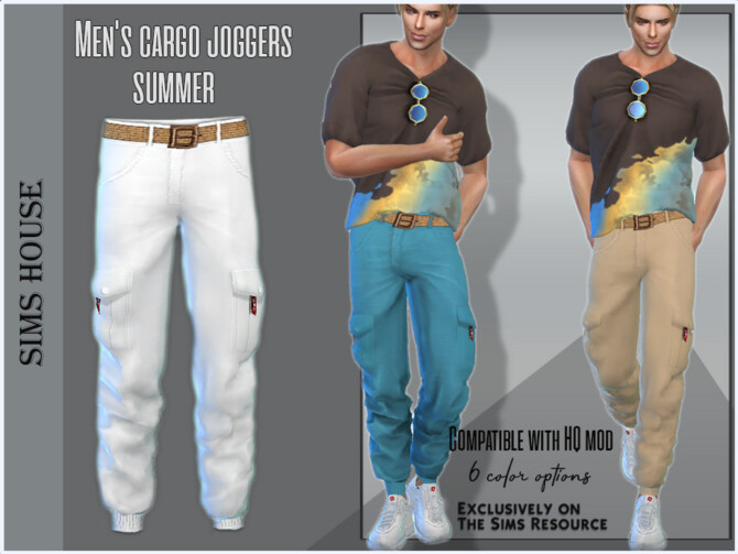 Sims 4 Mens cargo joggers summer by Sims House at TSR